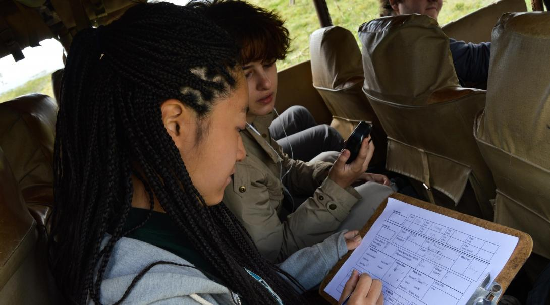 Teenagers fill in data about wildlife during conservation volunteer work in Kenya